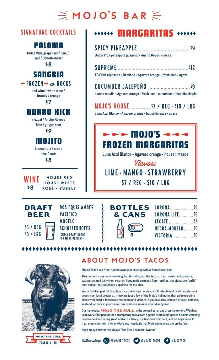 Mojo bar menu